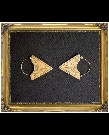 Sacred geometry bohemian triangle brass earrings