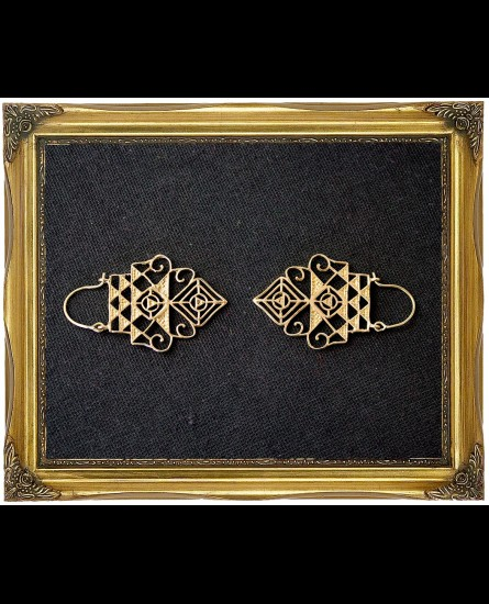 Tribal geometric brass earrings