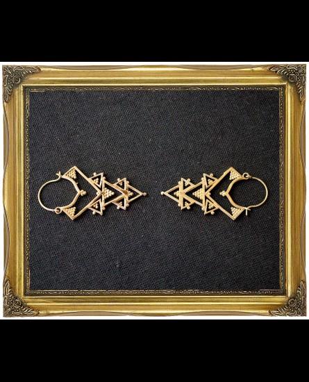 Tribal triangle brass earrings