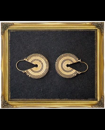 Afghan disc brass earrings