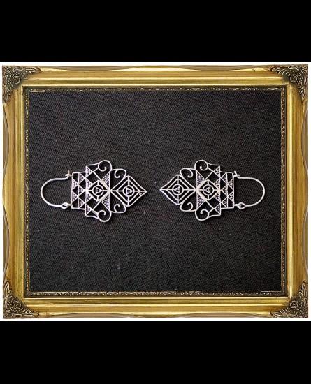White antique tribal geometric earrings