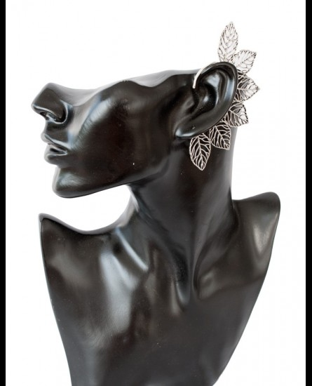 Floral design ear cuff - silver colour brass [more shapes available]