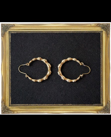 Brass bamboo hoop earrings