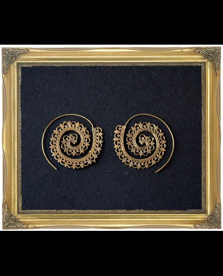 Mandala design brass spiral earrings