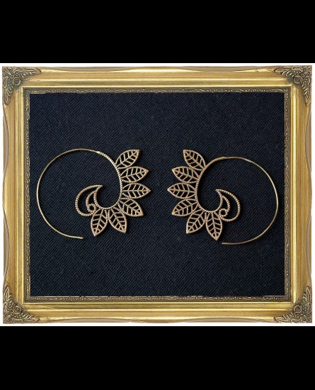 Leaf design brass spiral earrings