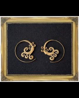 Tribal wave brass spiral earrings