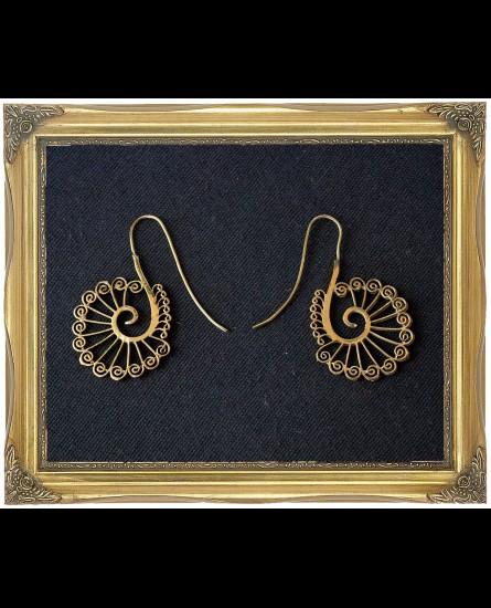 Peacock design brass earrings
