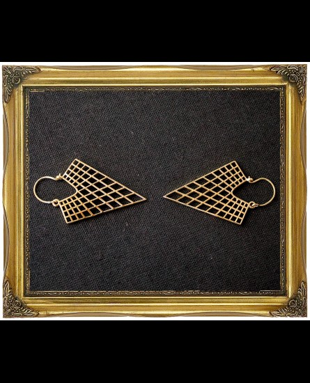 Geometric triangle brass earrings