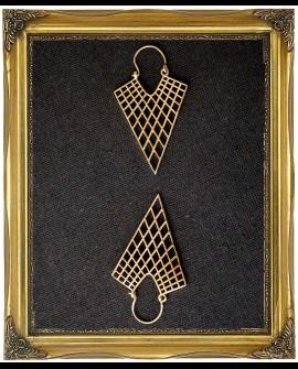 Geometric triangle brass earrings
