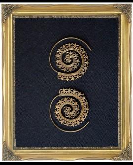 Mandala design brass spiral earrings