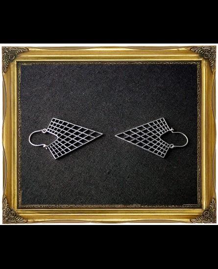 Geometric triangle white antique earrings