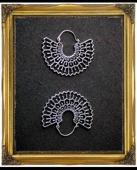 Bohemian sacred geometry half spherical white antique earrings