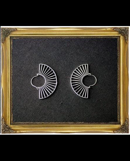 Bohemian semi circle white antique earrings
