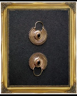 Gypsy brass earrings with black agate crystal