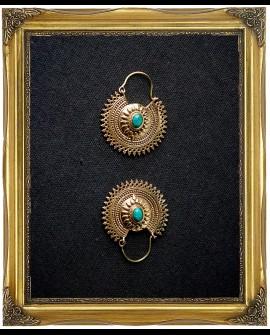 Gypsy brass earrings with Malachite crystal