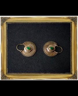 Gypsy brass earrings with Aventurine crystal