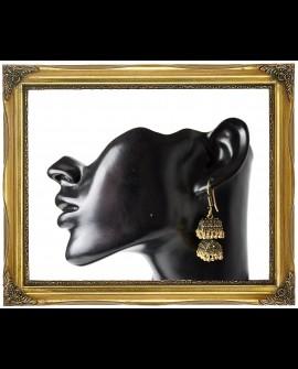 Antique style double dangle brass earrings