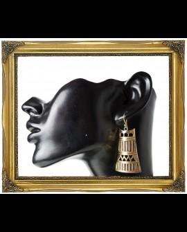 Dangle bell brass earrings