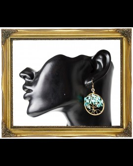 Tree of live - brass and turquoise crystal earrings