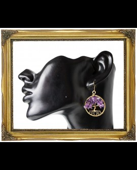 Tree of live - brass and amethyst earrings