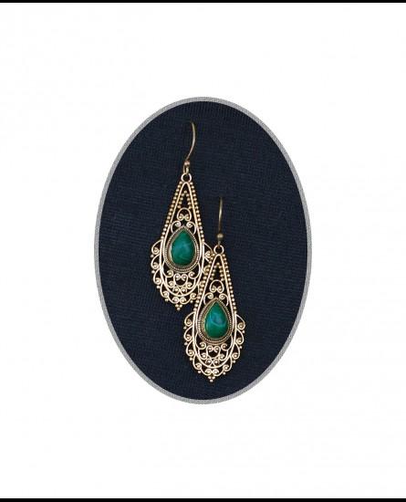 Malakite - Ibiza boho earrings, bohemian earrings, gemstone earrings